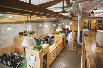 High angle view of modern kitchen