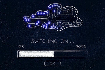 cloud made of electronic circuits with progress bar loading and text Switching on