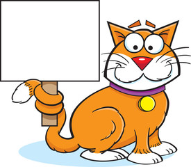 Cartoon illustration of a cat holding a sign.