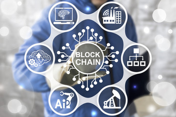 Blockchain Industrial Strategy Concept. Block Chain Industry 4.0 Technology. Worker touched blockchain microchip (circuit) icon on virtual screen. IT structure integration in manufacture.