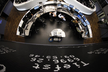 DAX board and trading floor are pictured at the Frankfurt stock exchange