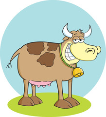 Cartoon illustration of a smiling cow,
