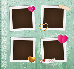 Collage photo frame on vintage background. Album template for kid,baby, family or memories.Scrapbook concept, vector illustration.