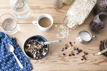 High angle view of breakfast cereal on wooden table