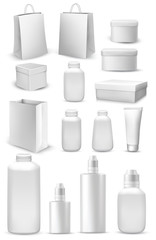 Big collection of shopping bags, gift boxes, plastic containers and cream tube. Vector