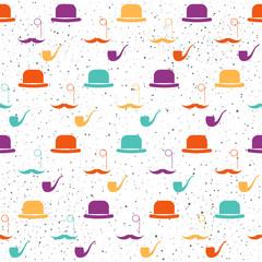Hat seamless pattern background. Abstract purple, green, yellow, orange pattern