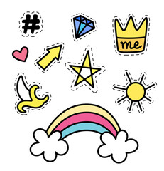Set of fashion stickers with rainbow, star, crown, banana, sun, arrow and gemstone. Trendy patch badges, collection in comic style.