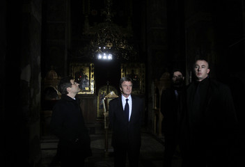 France's Foreign Minister Bernard Kouchner visits the Orthodox Monastery of Gracanica near Pristina