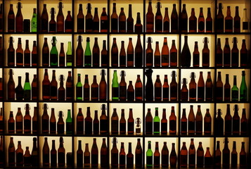 File photo of beer bottles from all over the world at the Hop museum in Wolnzach