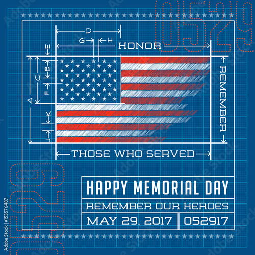 da636c588401 Happy Memorial Day card or banner. American flag design as a blueprint or  diagram. Remember our heroes vector illustration.