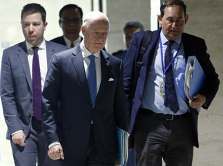 UN mediator de Mistura arrives for a meeting with the HNC during Syria peace talks in Geneva