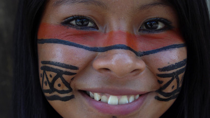 Native Brazilian Girl in a Tupi Guarani Tribe, Brazil
