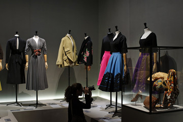 """Vintage dresses are presented in the exhibition """"Les Annees 50, La mode en France"""" at the Palais Galliera  fashion museum in Paris"""