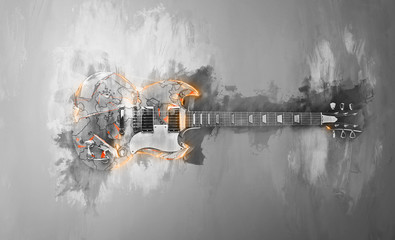 Hard rock guitar - abstract black and white illustration