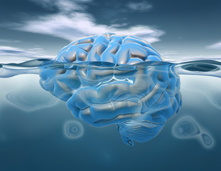 Brain under water 3D render, subconscious mental life and brainstorm idea.