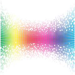 Abstract concave rainbow mosaic vector template with white copy space.