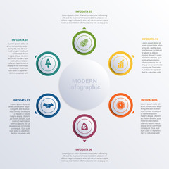 Vector illustration Modern Infographic diagram business steps for 6 options.