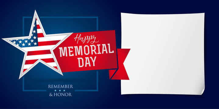 Memorial day remember & honor banner template. Happy Memorial Day greeting card with star in national flag colors. Vector illustration