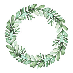 Round Herbal Wreath With Watercolor Green Leaves