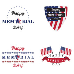 Set of memorial day labels on a white background, Vector illustration