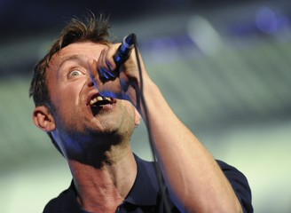 Damon Albarn from British band Blur performs as part of the London 2012 Olympic Games closing celebrations at Hyde Park, London