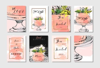 Hand drawn vector abstract freehand textured unusual save the date cards set template with cake stand design,flowers,lemon,golden frame and modern calligraphy in peach colors.Wedding,birthday,rsvp