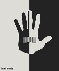 Human palm with bar code. Vector background. Black and white