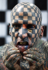 Matt Gone performs in the fourth International Tattoo Festival in Medellin