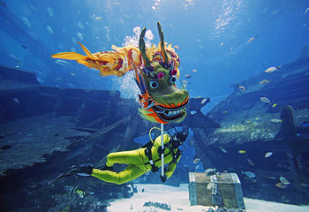 A diver performs a dragon dance at the Shipwreck Habitat of the S.E.A. Aquarium ahead of Chinese New Year in Sentosa