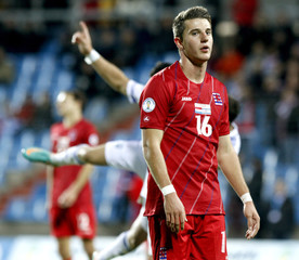 Luxembourg's Philipps reacts after Israel's Tomer Hemed scored a goal during their 2014 World Cup qualifying soccer match in Luxembourg