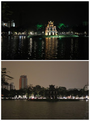 Combination picture shows the Turtle tower after and during Earth Hour in Hanoi