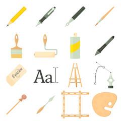Drawing tools icons set, cartoon style