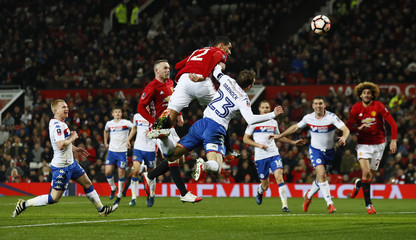 Manchester United's Chris Smalling scores their second goal