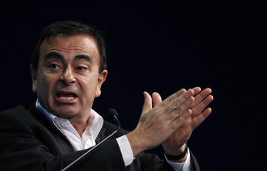 Chairman and CEO of Renault-Nissan Alliance, Ghosn speaks during a session at the World Economic Forum in Davos