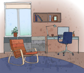 Illustration of a modern interior: living room with a workspace. A window,a table, a chair, an armchair, a bookshelf, a lamp. Vector design.