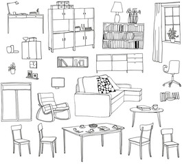 A set of hand-drawn illustrations of furniture. Black and white vector sketch