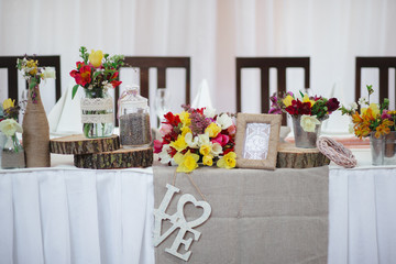 Wedding table decoration elements for a nice lovely banquet