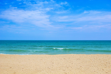 Sea beach on sunny day travel background