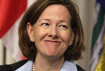Alberta Premier Redford holds a news conference about the Keystone XL pipeline