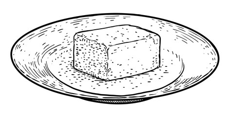 Butter on plate illustration, drawing, engraving, ink, line art, vector