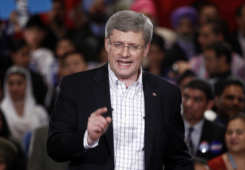Conservative leader and Canada's PM Harper speaks during a campaign rally in Brampton