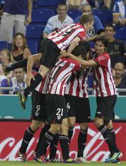 Athletic Bilbao's celebrate a goal against Espanyol during their Spanish First division soccer match at Cornella-El Prat stadium, near Barcelona