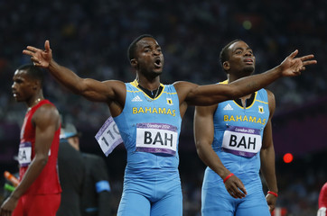 Bahamas' Ramon Miller and Michael Mathieu celebrate winning the men's 4x400m relay final during the London 2012 Olympic Games