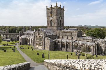 The cathedral at St. Davids, South Wales in the UK, the smallest city in Britain.