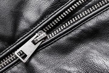 Black leather jacket metal zippet pattern.