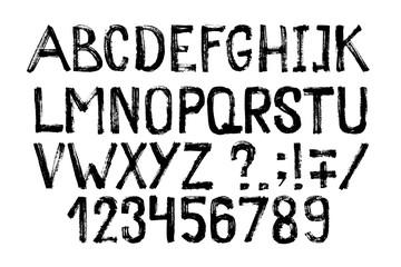 Hand drawn highlighter font. Modern lettering. Grunge style alphabet and figures. Vector illustration