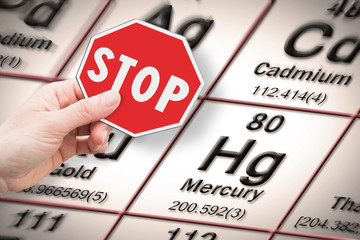 Stop heavy metals - Concept image with hand holding a stop sign against a mercury chemical element with the Mendeleev periodic table on background