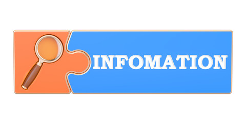 Information Search concept, from puzzle with magnifier. 3D rendering