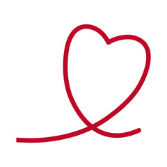 red heart romantic lovely symbol line vector illustration