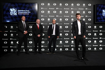 World Chess Champion Magnus Carlsen of Norway speaks at an award ceremony after winning the 2016 World Chess Championship in New York